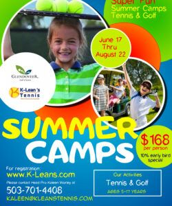 copy of kids summer camp flyer template 1  klean's tennis day camp flyer template pdf