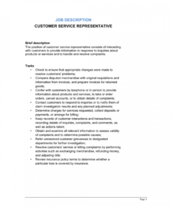 customer service representative job description template customer service job description template and sample