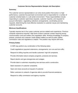 customer service representative sample job description customer service job description template pdf
