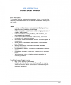 driver sales worker job description template  by business salesman job description template pdf