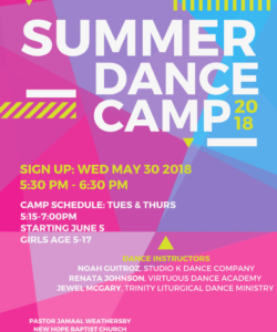 free 30 top summer dance camp flyer template  summer background dance camp flyer template