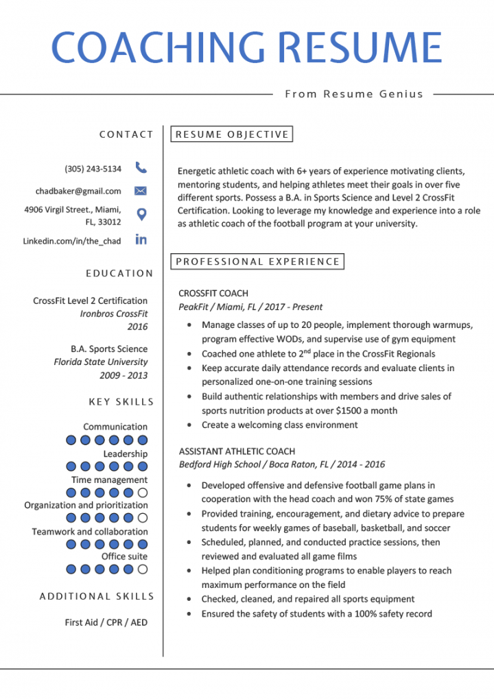 free coaching resume sample & writing tips  resume genius coaching job description template doc