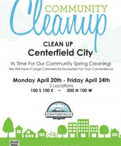 free community cleanup! — centerfield city neighborhood cleanup flyer template and sample