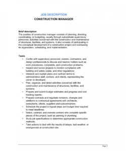 free construction manager job description template  by business project manager job description template