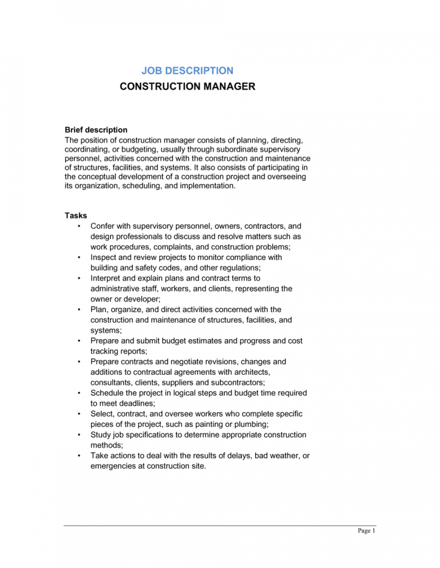 free construction manager job description template  by business project manager job description template
