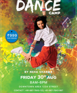 free dance camp flyer free psd template  psddaddy dance camp flyer template and sample