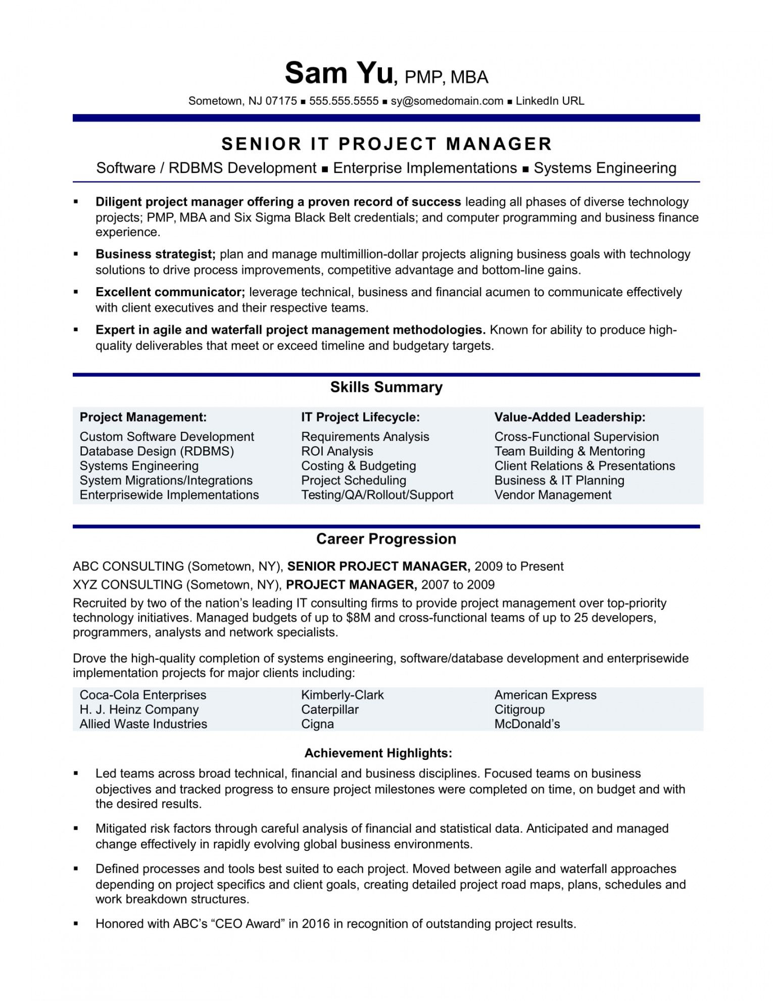 free experienced it project manager resume sample  monster project manager job description template