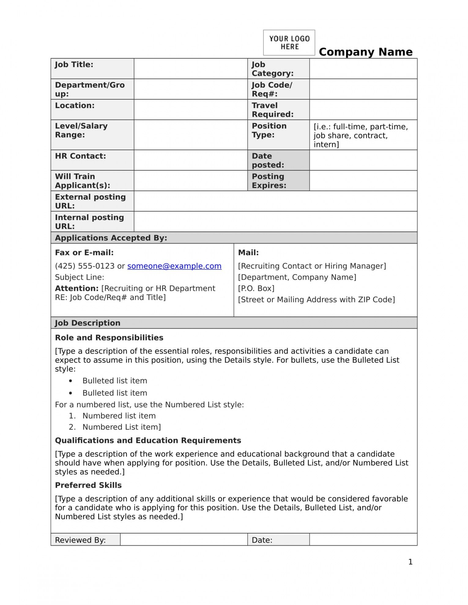 free free 15 job description forms in pdf  ms word blank job description template and sample