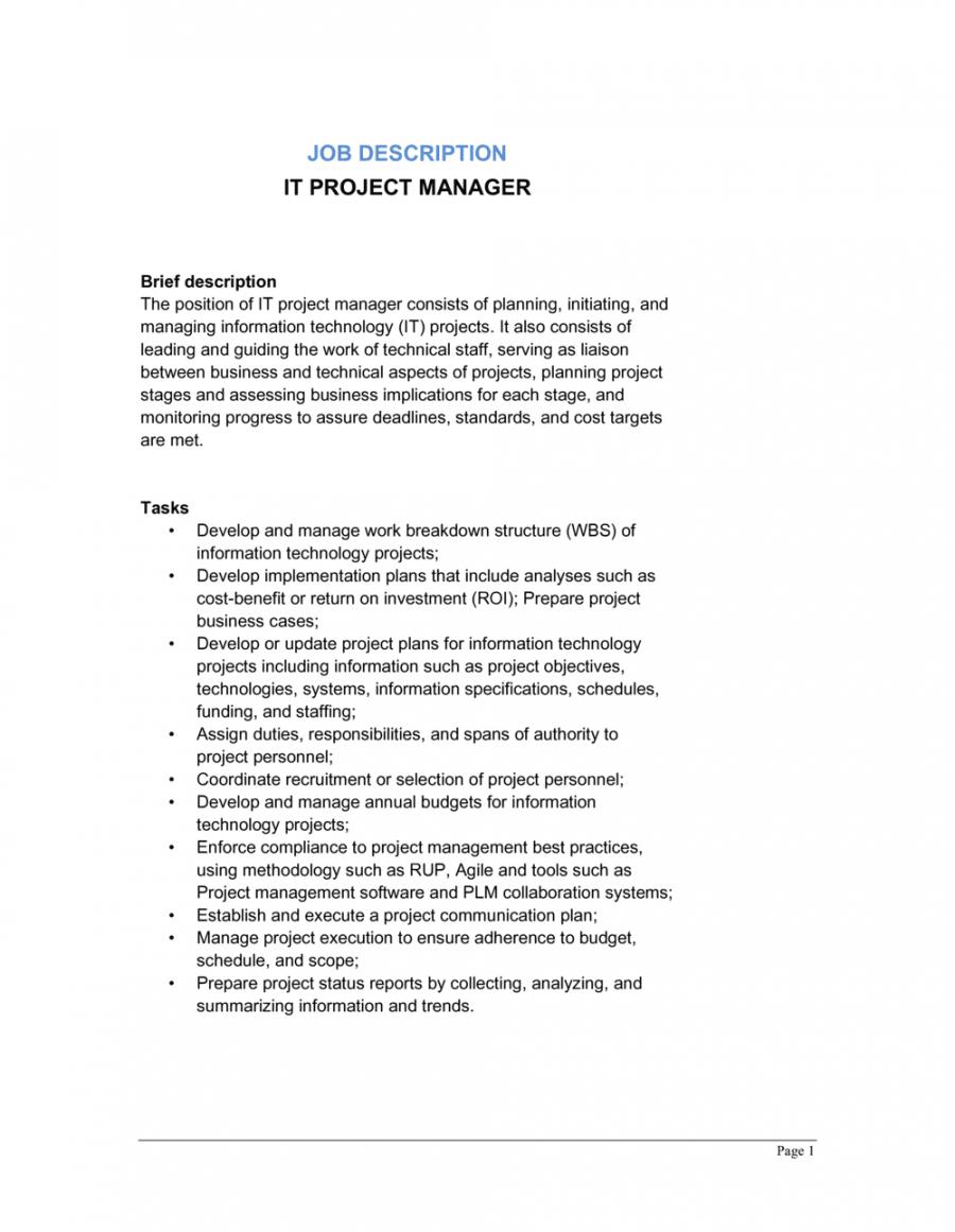 free it project manager job description template  by businessin project manager job description template