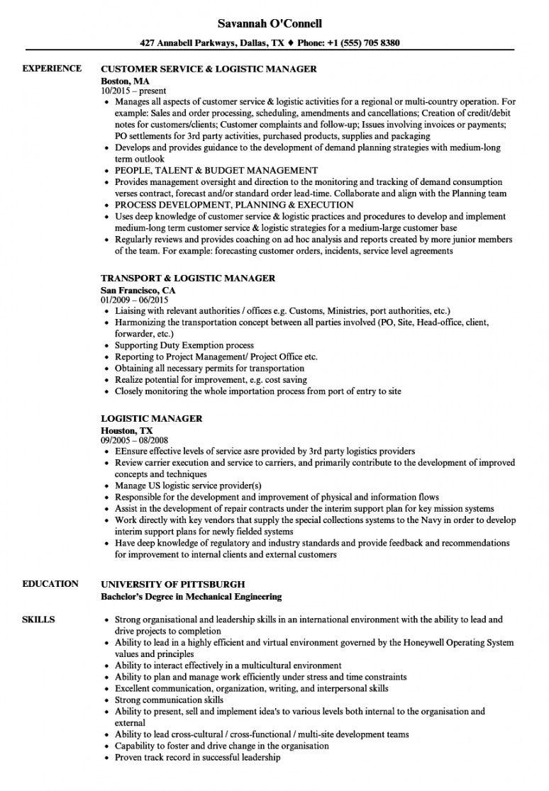free logistic manager resume samples  velvet jobs logistics manager job description template