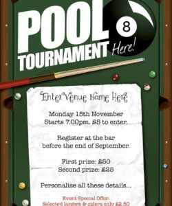 free pool tournament flyer a5  flyers  products  promote pool tournament flyer template pdf