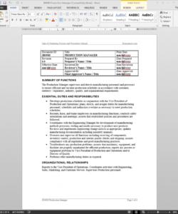 free production manager job description manufacturing job description template pdf