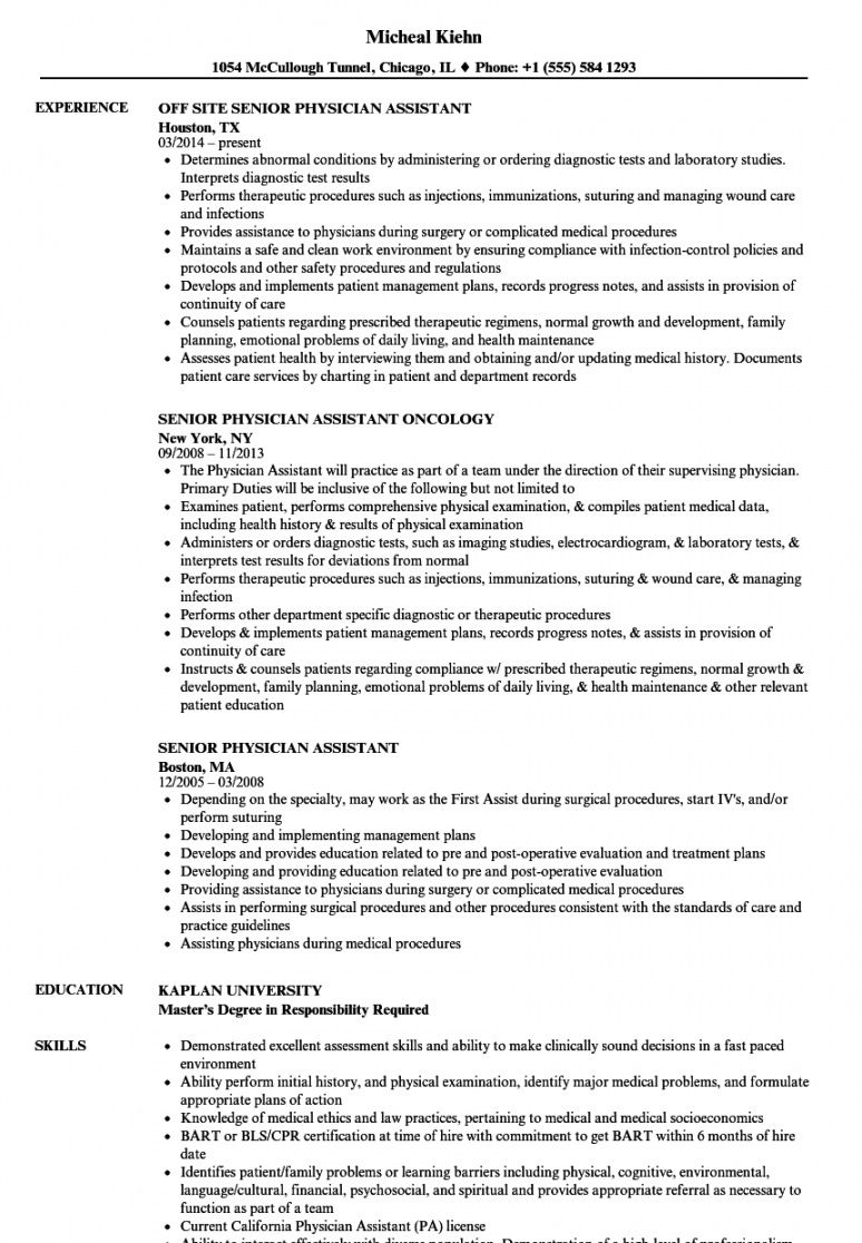 free senior physician assistant resume samples  velvet jobs physician assistant job description template