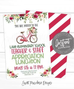 free teacher appreciation luncheon invitation bloom theme luncheon pto pta  fundraiser flyer editable template instant access edit now teacher appreciation flyer template doc