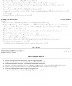 free warehouse supervisor resume sample  mintresume warehouse supervisor job description template