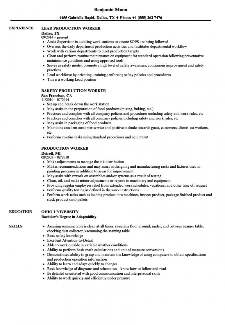 production worker resume samples  velvet jobs manufacturing job description template and sample