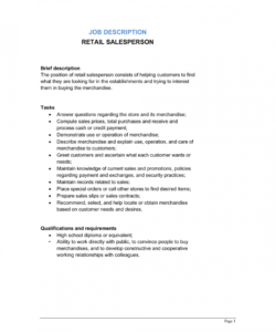 retail salesperson job description template  by businessin salesman job description template doc