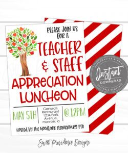 teacher appreciation luncheon invitation apple tree theme luncheon pto  pta fundraiser flyer editable template instant access edit now teacher appreciation flyer template and sample