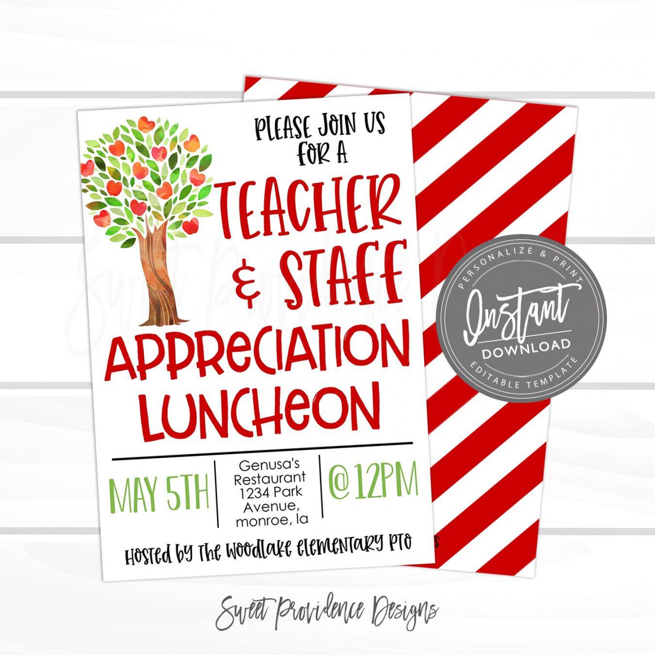 teacher appreciation luncheon invitation apple tree theme luncheon pto  pta fundraiser flyer editable template instant access edit now teacher appreciation flyer template and sample