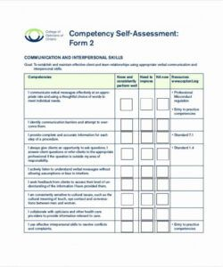 Competency Checklist Template Doc Example