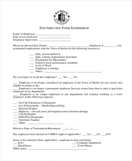 Costum Exit Interview Checklist Template Doc Example