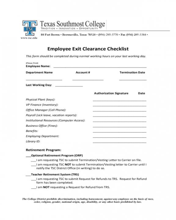 Costum Exit Interview Checklist Template Word