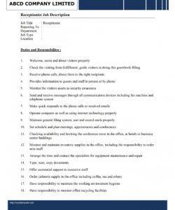Costum Medical Receptionist Job Description Template Doc Example