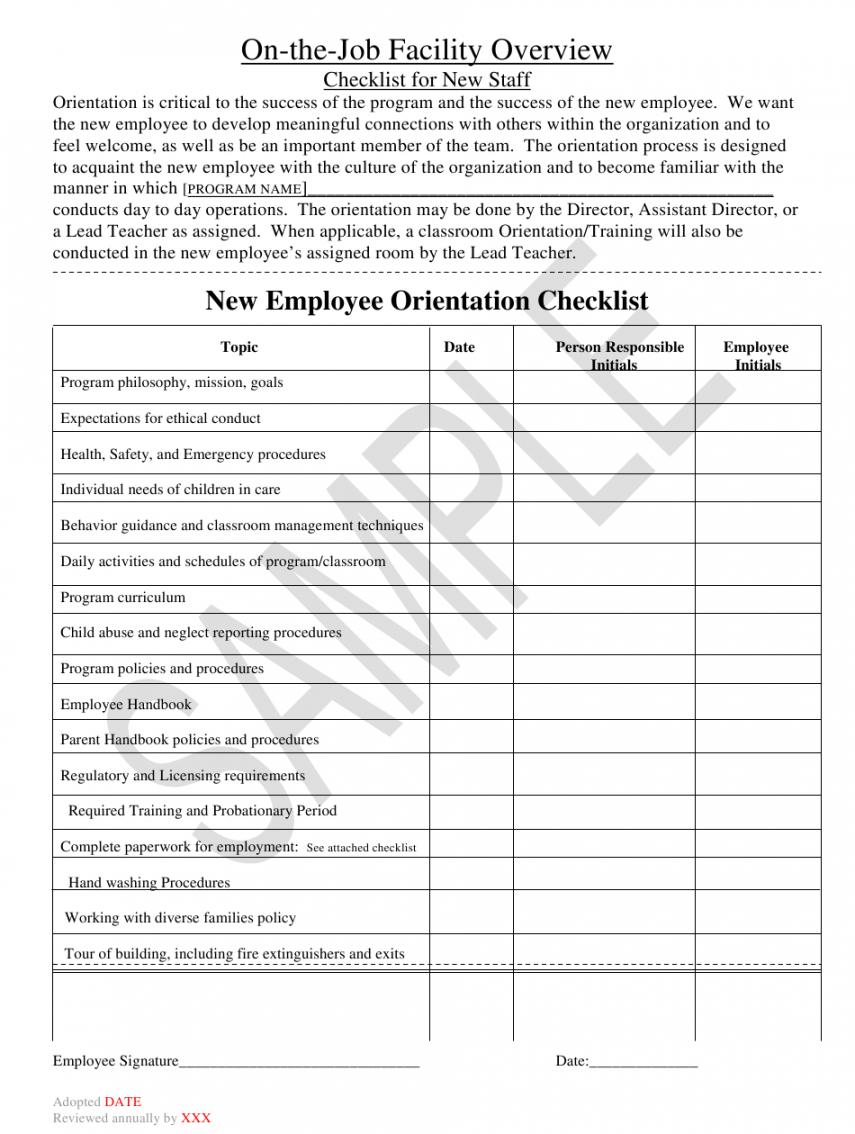 Editable Orientation Checklist Template Word Sample