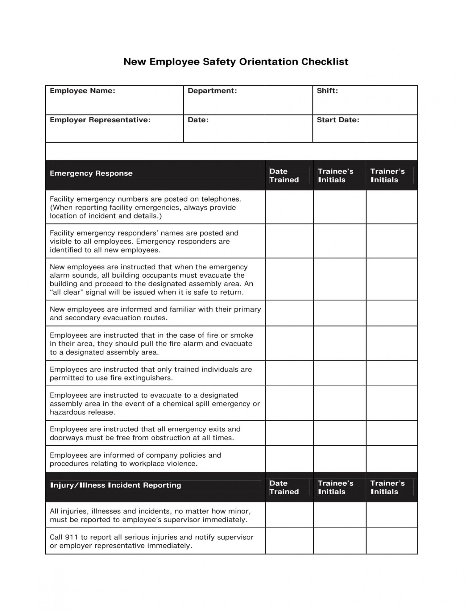 Editable Orientation Checklist Template