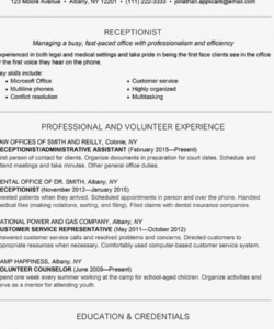 Editable Reception Job Description Template  Example