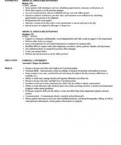 Medical Receptionist Job Description Template Excel Example