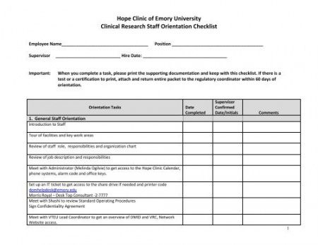 New Hire Packet Checklist Template Excel Sample