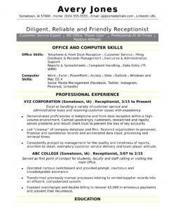 Printable Reception Job Description Template Doc Example