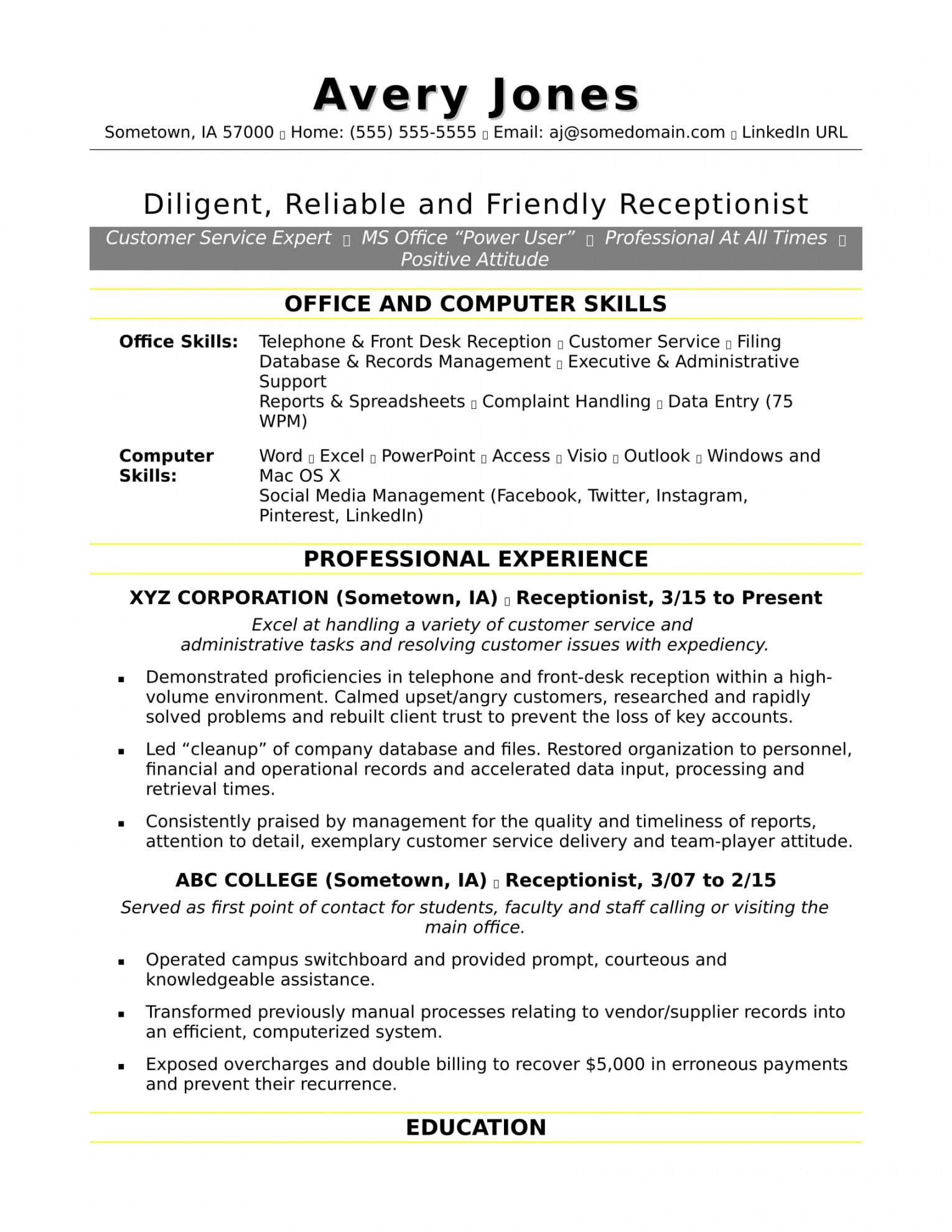 Printable Reception Job Description Template Doc Example