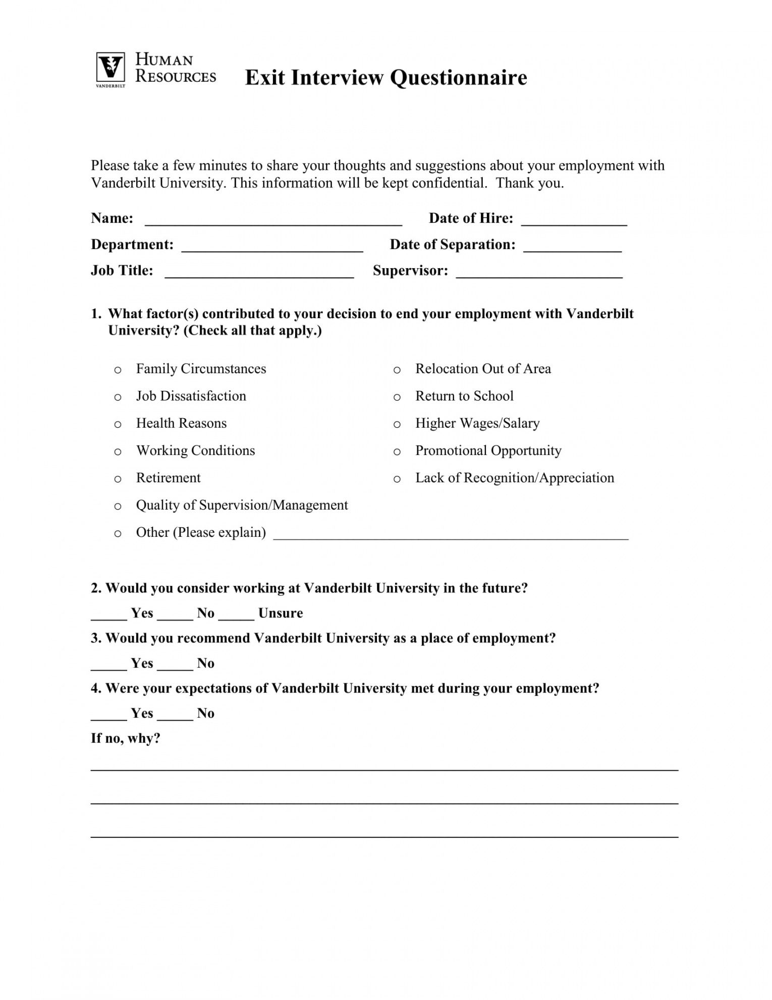 Professional Exit Interview Checklist Template  Sample