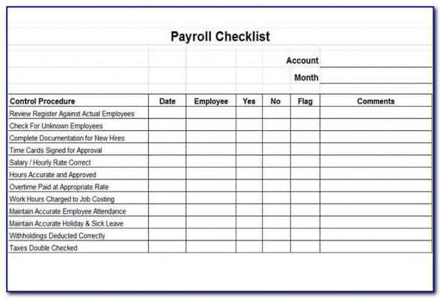 Professional Payroll Processing Checklist Template  Example