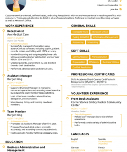 Professional Reception Job Description Template  Example