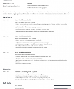 Professional Reception Job Description Template Excel