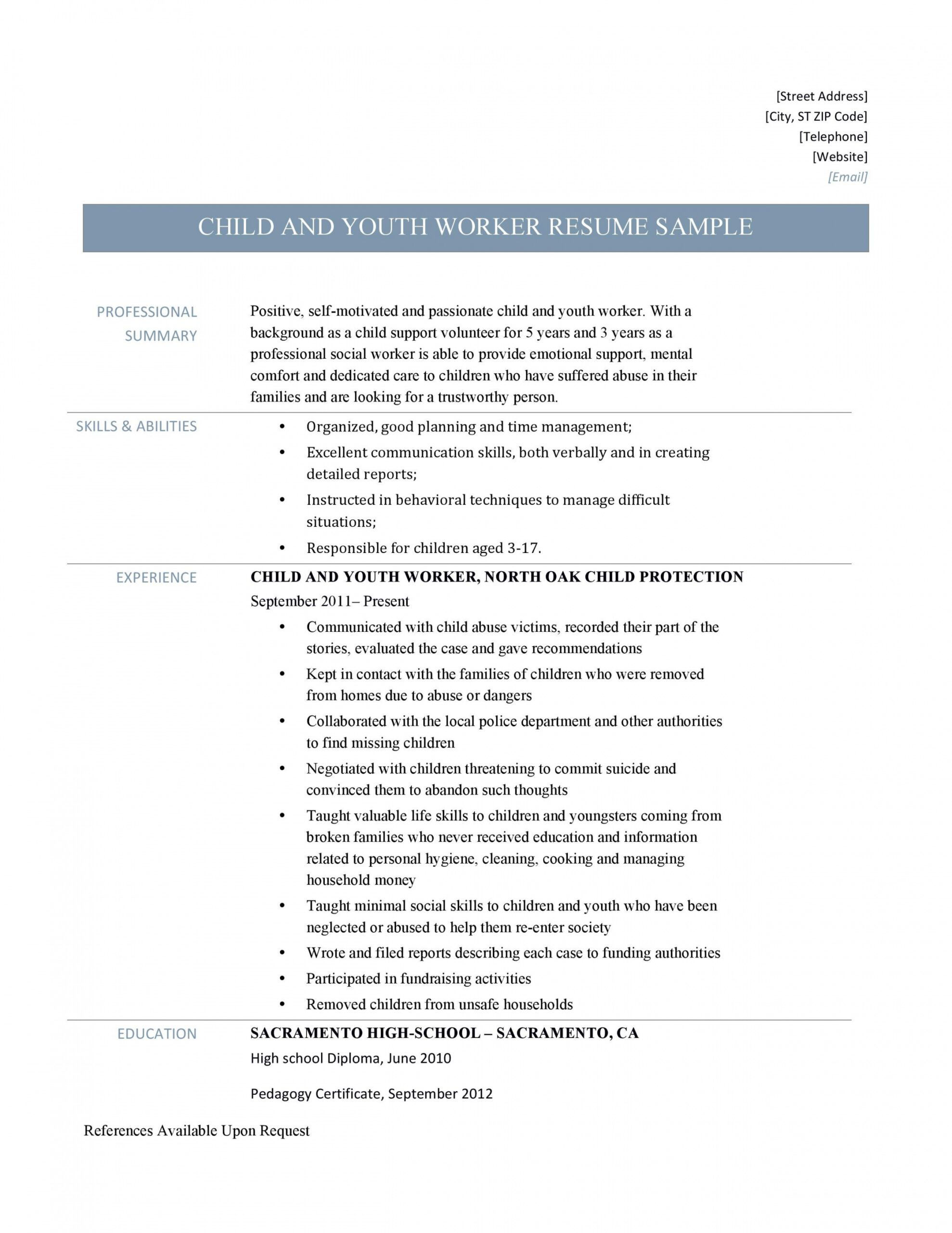 Youth Worker Job Description Template Pdf