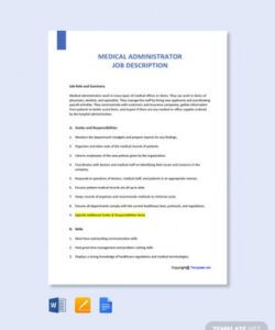 Admin Job Description Template Doc Example