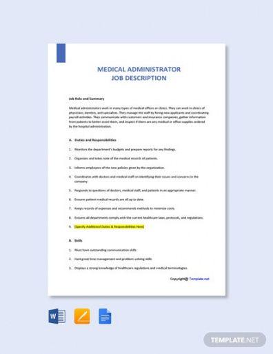Admin Job Description Template Doc Example