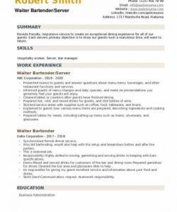 Bartender Job Description Template Word