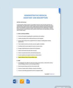 Best Admin Job Description Template Excel Sample