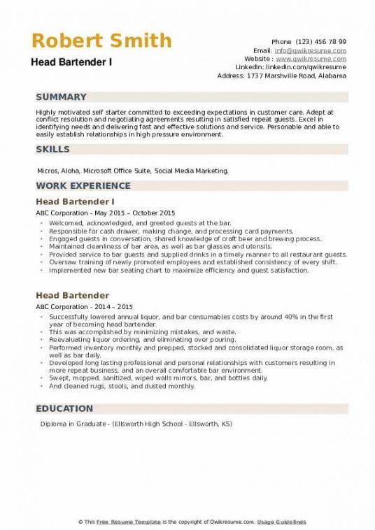 Best Bartender Job Description Template Pdf