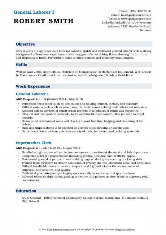 Best General Laborer Job Description Template Pdf Example