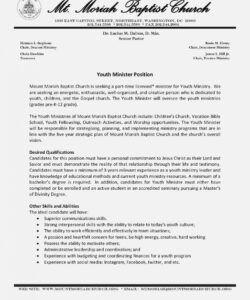 Best Ministry Job Description Template Excel