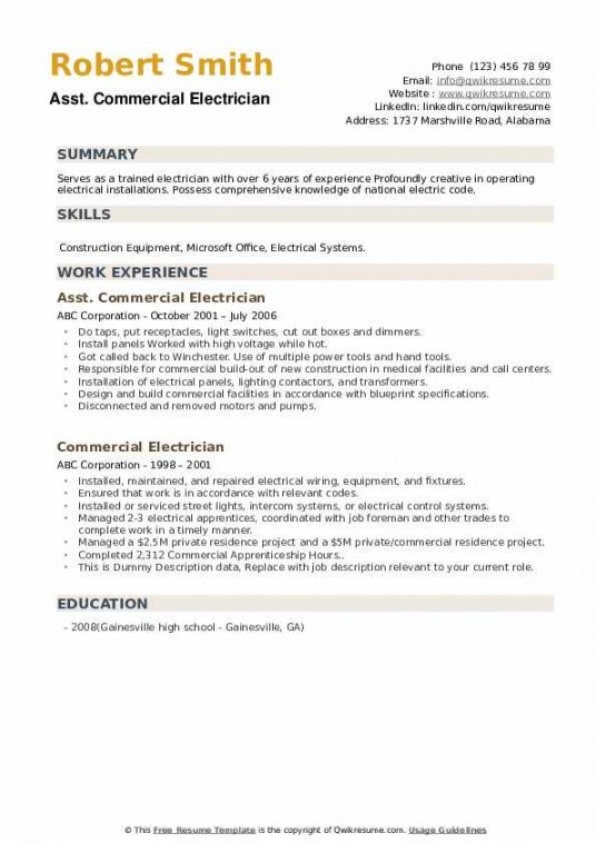 Printable Electrician Job Description Template Pdf