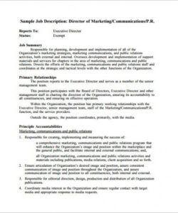 Printable Marketing Manager Job Description Template Doc Example