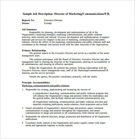 Printable Marketing Manager Job Description Template Doc Example