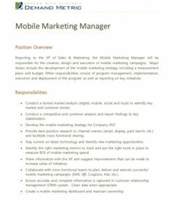Printable Marketing Manager Job Description Template  Sample